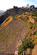 TURKEY, ROMAN CULTURE PERGAMUM (now Bergama); an ancient Hellenistic Kingdom became Roman in 133BC, hilltop site and the theatre