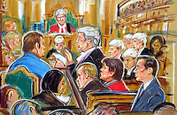 COPYRIGHT PRISCILLA COLEMAN (ITN ARTIST).ARTWORK SHOWS:BARRY GEORGE (LEFT) MICHAEL MANSFIELD Q.C. ( CENTER ) MICHELLE DISKIN ( IN RED ) AND ALAN FARTHING (BOTTOM RIGHT) AT THE OLD BAILEY WHERE MICHAEL MANSFIELD OPENED THE DEFENSE OF BARRY GEORGE IN THE JILL DANDO MURDER TRIAL..ARTWORK BY: PRISCILLA COLEMAN ( ITN ARTIST )