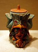 Container, Diving Figure.  Mexico; Maya 13th-15th century.  Ceramic.