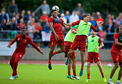 ROTTACH-EGERN, GERMANY - Friday, July 28, 2017: Liverpool's Joe Gomez and Roberto Firmino during a training session at FC Rottach-Egern on day three of the preseason training camp in Germany. (Pic by David Rawcliffe/Propaganda)