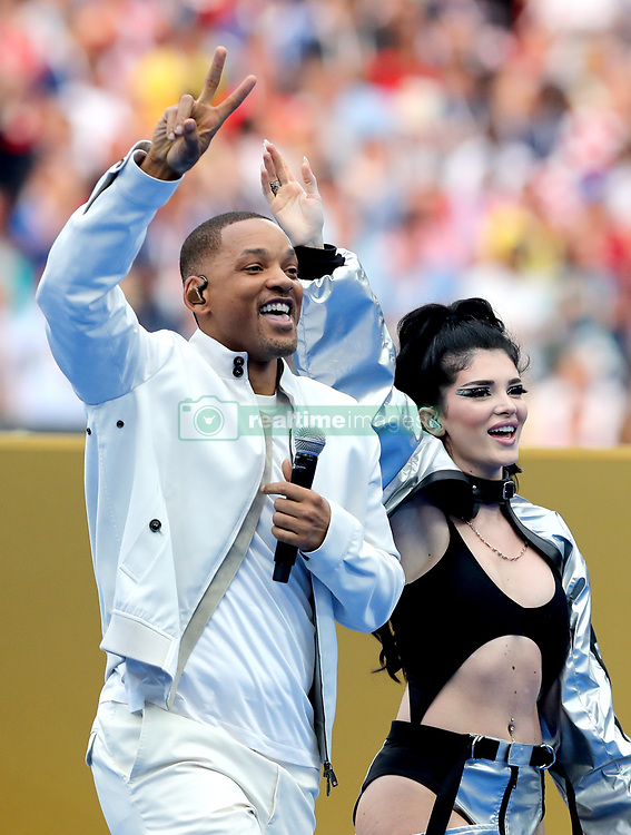 Will Smith and Era Istrefi perform at the closing ceremony during the FIFA World Cup Final at the Luzhniki Stadium, Moscow.