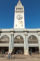 The San Francisco Ferry Building is a terminal for ferries that travel across the San Francisco Bay, a marketplace on The Embarcadero in San Francisco. On top of the building is a 245-foot tall clock tower, Designed by American architect A. Page Brown in the Beaux Arts style the ferry building was completed in 1898. In 2002, a restoration and renovation were undertaken to redevelop the entire complex. During daylight, on every full and half-hour, the clock bell chimes portions of the Westminster Quarters. The ferry terminal is a designated San Francisco landmark and is listed on the National Register of Historic Places.