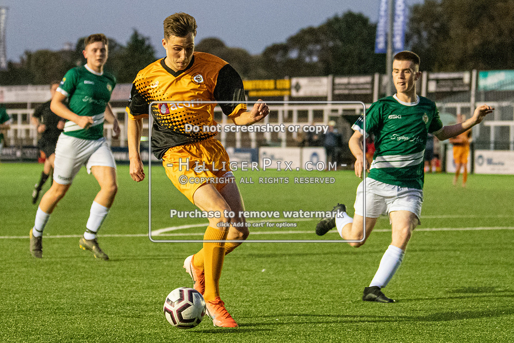 BROMLEY, UK - SEPTEMBER 18: The FA Youth Cup First Round Qualifier match between Cray Wanderers FC U18 and Ashford United FC U18 at Hayes Lane on September 18, 2019 in Bromley, UK. <br /> (Photo: Jon Hilliger)