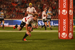 Andries Coetzee scores during the Currie Cup Premier division match between the The Lions and the Western Province held at the Emirates Airline Park (Ellis Park), Johannesburg, South Africa on the 9th September 2016<br /> <br /> Photo by:   Real Time Images