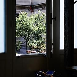 A detail of pianist Bertrand Chamayou's home interior. Paris, France. June 18, 2019.<br /> Detail de l'appartement du pianiste Bertrand Chamayou. Paris, France. June 18, 2019.