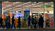 Black Friday Christmas shoppers enter the Shoe Carnival store in Fairview Heights at 6 a.m. on Friday November 27, 2020. <br /> Photo by Tim Vizer