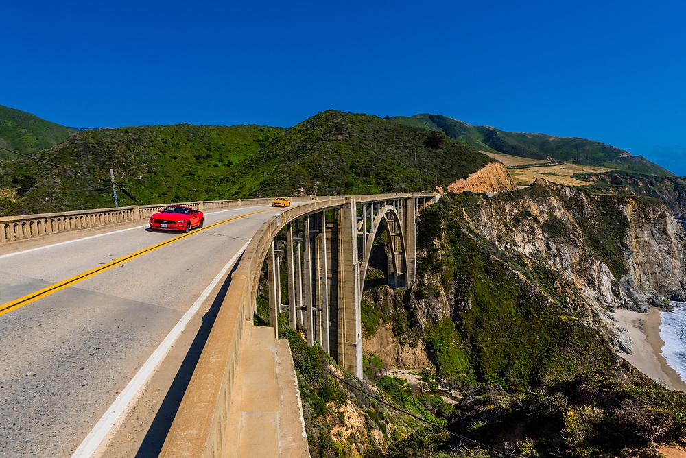 The Bixby Bridge along the Big Sur coast between Carmel Highlands and Big Sur, California USA.