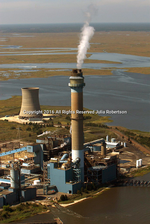 aerial view of B.L. England Generating Station, Marmora, NJ, coal-fired power plant.