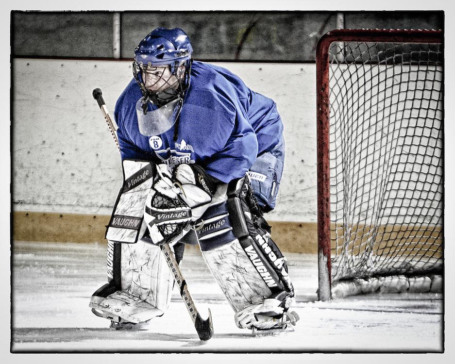 Ridgeland/Hruby Adult League goalie Terry Repasky from Livonia, MI,