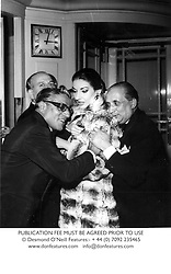 Left to right, ARISTOTLE ONASSIS, MARIA CALLAS and her husband SIGNOR GIOVANNI MENEGHINI at a party at The Dorchester, London in June 1959.  CCJ 60PUBLICATION FEE MUST BE AGREED PRIOR TO USE<br /> © Desmond O'Neill Features:- + 44 (0) 7092 235465<br /> www.donfeatures.com   info@donfeatures.com
