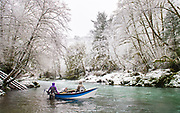 Oregon, Alaska and Christmas Island guide Kate Taylor reads this Oregon coastal river to guage where steelhead are likely to hold. The day before was warm and sunshine and by morning the frost box was on lock down.