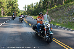 Sturgis, SD Mayor Mark Carstensen leads his annual Mayor's Ride during the 75th Annual Sturgis Black Hills Motorcycle Rally.  SD, USA.  August 3, 2015.  Photography ©2015 Michael Lichter.