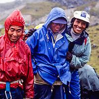 Sherpa veterans Mingma Mote, Pasang Kami + Ang Phurba at an early mountaineering school for sherpas in the Khumbu region of Nepal, 1980.  Mt. Cholatse bkg.