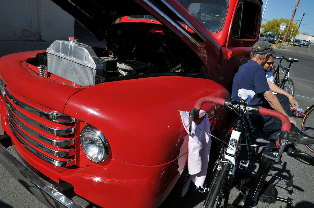 Vintage truck and bikes at the Spring 2013 Bicycle Swap Meet in Tucson, Arizona. Bike-tography by Martha Retallick.
