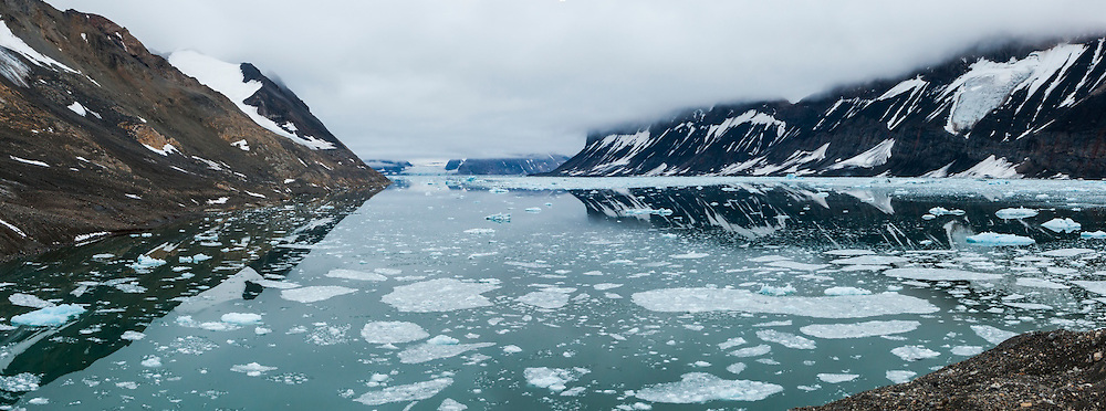 The ice choked fjord of actively calving Paierlbreen, Hornsund, Svalbard.