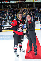 KELOWNA, CANADA - NOVEMBER 9: Collin Shirley #24 of Team WHL  accepts the player of the game award against the Team Russia on November 9, 2015 during game 1 of the Canada Russia Super Series at Prospera Place in Kelowna, British Columbia, Canada.  (Photo by Marissa Baecker/Western Hockey League)  *** Local Caption *** Collin Shirley;