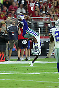Dallas Cowboys rookie cornerback Jourdan Lewis (27) does a flip as he breaks up a third quarter pass during the 2017 NFL week 3 regular season football game against the Arizona Cardinals, Monday, Sept. 25, 2017 in Glendale, Ariz. The Cowboys won the game 28-17. (©Paul Anthony Spinelli)