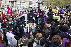 London, UK. 1st May, 2021. Thousands of people attend a Kill The Bill demonstration in Trafalgar Square as part of a National Day of Action to coincide with International Workers Day. Nationwide protests have been organised against the Police, Crime, Sentencing and Courts Bill 2021, which would grant the police a range of new discretionary powers to shut down protests.
