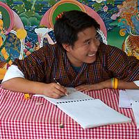 Asia, Bhutan, Thimpu. Bhutanese Art Student.