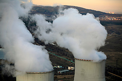 CZECH REPUBLIC PRUNEROV 22MAR10 - General view of the cooling towers at the Prunerov brown coal-fired power station in north Bohemia. Prunerov is the largest source of carbon dioxide emissions pollution in the Czech Republic...jre/Photo by Jiri Rezac / GREENPEACE
