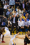 Golden State Warriors head coach Steve Kerr yells at his players during a game against the Houston Rockets at Oracle Arena in Oakland, Calif., on March 31, 2017. (Stan Olszewski/Special to S.F. Examiner)
