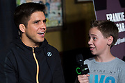DALLAS, TX - MAY 10:  Henry Cejudo speaks to the media during the UFC 211 Ultimate Media Day at the House of Blues Dallas on May 10, 2017 in Dallas, Texas. (Photo by Cooper Neill/Zuffa LLC/Zuffa LLC via Getty Images) *** Local Caption *** Henry Cejudo