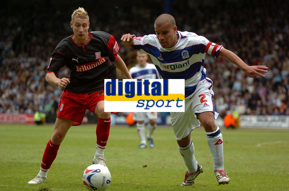Photo: Tony Oudot.<br /> Queens Park Rangers v Stoke City. Coca Cola Championship. 06/05/2007.<br /> Marcus Bignot of Queens Park Rangers challenges Lee Martin of Stoke City to the ball