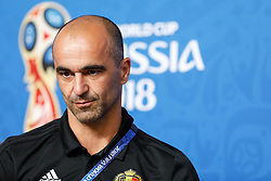 July 13, 2018 - Saint Petersburg, Russia - Belgium head coach Roberto Martinez attends a press conference ahead of the 2018 FIFA World Cup Russia third-place match against Belgium on July 13, 2018 at Saint Petersburg Stadium in Saint Petersburg, Russia. (Credit Image: © Mike Kireev/NurPhoto via ZUMA Press)