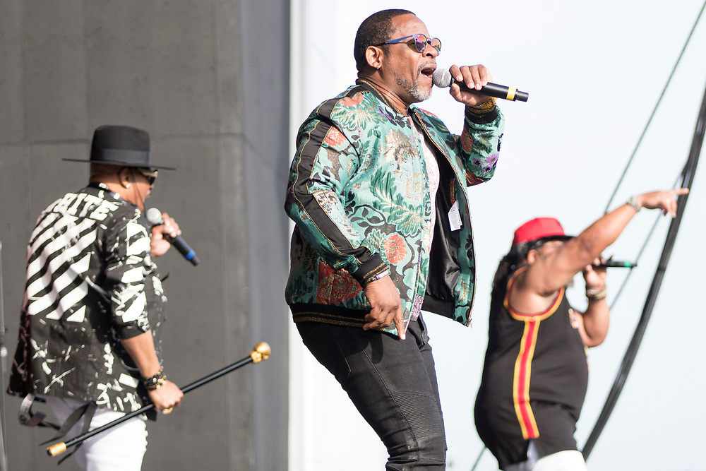The Sugarhill Gang performs at Summerfest in Milwaukee, WI on June 28, 2018.