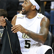Marcus Jordan (5) of the University of Central Florida Knights mens basketball team relaxes on the bench in a game against the West Florida Argonauts in the first home game of the 2010 season at the UCF Arena on November 12, 2010 in Orlando, Florida. UCF won the game 115-61. (AP Photo/Alex Menendez)