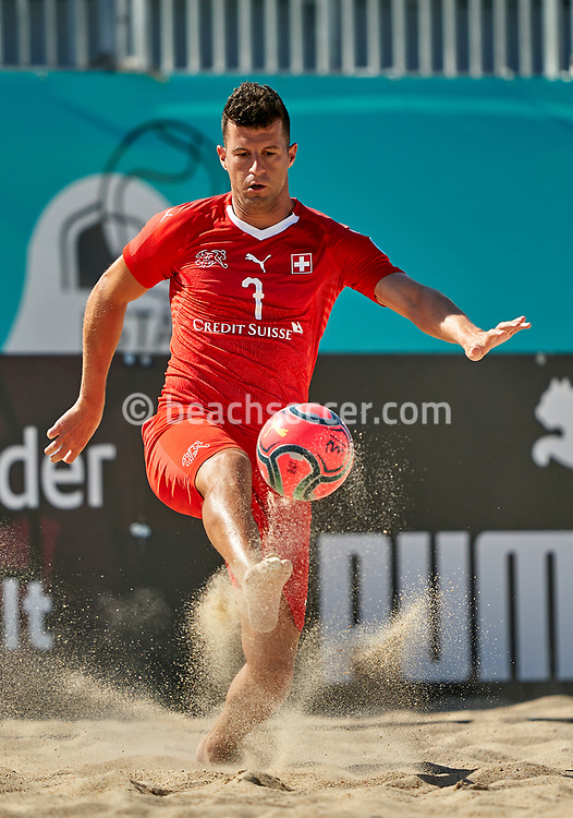 NAZARE, PORTUGAL - SEPTEMBER 3: Sandro Spaccarotella of Switzerland during day 2 of the Euro Beach Soccer League Superfinal at Estadio do Viveiro on September 3, 2020 in Nazare, Portugal. (Photo by Jose Manuel Alvarez/BSWW)