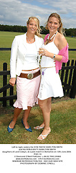 Left to right, sisters the HON.TANYA HAMILTON-SMITH and the HON.KIRSTY HAMILTON-SMITH daughters of Lord Colwyn, at a polo match in Berkshire on 12th June 2004.PWC 19