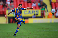 Shrewsbury Town midfielder Shaun Whalley (7) takes a free kick during the EFL Sky Bet League 1 match between Charlton Athletic and Shrewsbury Town at The Valley, London, England on 11 August 2018.