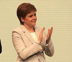SNP Spring Conference, Saturday 27th April 2019<br /> <br /> Pictured: First Minister Nicola Sturgeon watches John Swinney MSP make his keynote speech<br /> <br /> Alex Todd | Edinburgh Elite media