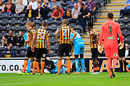 Burton Albion defender Stephen Warnock (3) picks up an injury and is substituted off during the EFL Sky Bet Championship match between Hull City and Burton Albion at the KCOM Stadium, Kingston upon Hull, England on 12 August 2017. Photo by Richard Holmes.