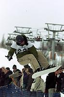 Snowboard, NM snøbrett halfpipe Geilo mars 2000. Kim Christiansen.