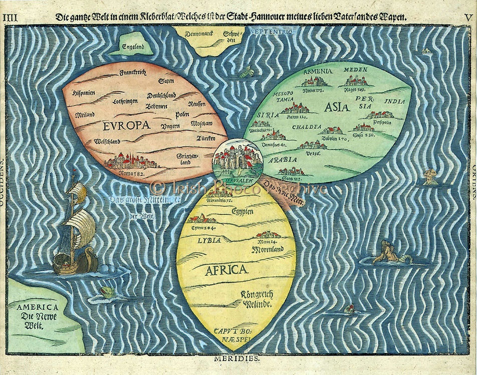 """This """"cloverleaf"""" map of the world, with Jerusalem at the centre, was created in 1581. Map by Bünting (1581)."""