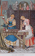 Activity for girls - Woodcarving. Print 1884.