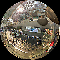 Kyoto Train Station Level Two -- Fisheye View. Composite of 43 images taken with a Leica CL camera and 18 mm f/2.8 lens (ISO 400, 18 mm, f/5.6, 1/60 sec). Raw images processed with Capture One Pro and AutoPano Giga Pro.