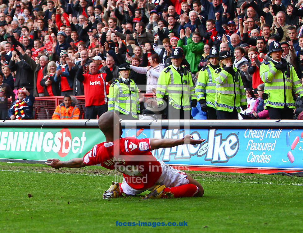 Picture by John Rainford/Focus Images Ltd. 07506 538356.05/05/12.Danny Haynes of Charlton Athletic celebrates scoring against Hartlepool United during the Npower League 1 match at The Valley stadium, London.