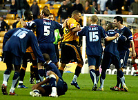 Photo: Ed Godden.<br /> Wolverhampton Wanderers v Southend United. Coca Cola Championship. 04/11/2006. A scuffle between the two teams errupts to the bookings of Seyi Olofinjana (Wolves) and Southend's Kevin Maher.