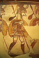"""Large wine krater known as """"House of the Warrior Vase"""", showing men in full armour ( helmet, cuirass, greaves, shield and spear ) as they depart fro war with a sack of supplies hanging from their spears. A fine example of Mycenaean Pictoral Style. Mycenae acropolis, Greece. 12th century BC, cat no: 1426 ,  National Archaeological Museum, Athens."""