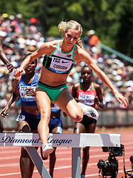 Emma Coburn, USA, second place in womens 3000 meter steeplchase at 2019 The Prefontaine Classic Track & Field<br /> IAAF Diamond League