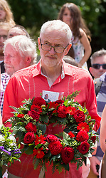© Licensed to London News Pictures. 21/07/2019; Tolpuddle, Dorset, UK. JEREMY CORBYN, leader of the Labour Party,attends the wreath laying at the grave of Tolpuddle Martyr James Hammett at the church in the village of Tolpuddle, part of the Tolpuddle Martyrs Festival. The Tolpuddle Martyrs Festival for trade unionism, held every year, commemorates the birth of the trade union movement in the 19th century when the Tolpuddle Martyrs were transported to Australia for forming a trade union of agricultural labourers in Dorset. Photo credit: Simon Chapman/LNP.