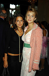 Left to right, NATASHA LEONARD and GRACE HUGHES-HALLETT at a party to celebrate the publication of 'Princesses' the six daughters of George 111 by Flora Fraser held at the Saville Club, Brook Street, London W1 on 14th September 2004.<br /><br />NON EXCLUSIVE - WORLD RIGHTS