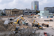 The changing urban landscape during the ongoing clearance of the site of the former Elephant & Castle shopping centre which is being demolished and redeveloped in south London, on 19th October 2021, in London, England. The much-criticised architecture of the Elephant & Castle Shopping Centre was opened in 1965, built on the bomb damaged site of the former Elephant & Castle Estate, originally constructed in 1898. The centre was home to restaurants, clothing retailers, fast food businesses and clubs where south Londoners socialised and met lifelong partners.
