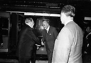 17/07/1967<br /> 07/17/1967<br /> 17 July 1967<br /> Cardinal John Cody, Archbishop of Chicago arrives at Heuston Station, Dublin. An Tanaiste, Mr. Frank Aiken, Minister for External Affairs welcomes Cardinal Cody to Ireland at the train station.