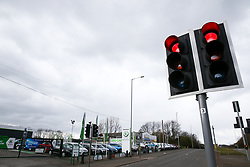 A Skoda car dealership remains closed and the usually busy A34 main road is clear of traffic as the UK continues in lockdown to help curb the spread of the coronavirus.