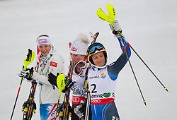16.02.2013, Planai, Schladming, AUT, FIS Weltmeisterschaften Ski Alpin, Slalom, Damen, 2. Durchgang, im Bild Michaela Kirchgasser (AUT, 2. Platz), Mikaela Shiffrin (USA, 1. Platz), Frida Hansdotter (SWE, 3. Platz) // 2nd place Michaela Kirchgasser of Austria, 1st place Mikaela Shiffrin of United States, 3th place Frida Hansdotter of Sweden reacts after 2nd run of the ladies Slalom at the FIS Ski World Championships 2013 at the Planai Course, Schladming, Austria on 2013/02/16. EXPA Pictures © 2013, PhotoCredit: EXPA/ Johann Groder