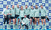 Putney, London, Varsity Boat Race, 07/04/2019,  CUBC, crew winners of the 2019 Oxford V Cambridge, Men's Race, Dave BELL, James CRACKNELL, Grant BITLER, Dara ALIZADEH, Cullum SULLIVAN, <br /> Sam HOOKWAY, Freddie DAVIDSON, Natan WEGRZYCHI-SZYMCZYK, <br /> Cox, Matthew HOLLAND,  Mortlake,<br /> [Mandatory Credit: Patrick WHITE], Sunday,  07/04/2019,